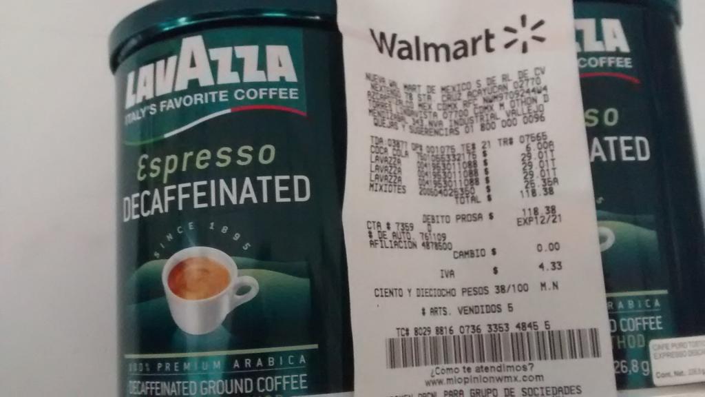 Walmart: Café Lavazza descafeinado a $29.01