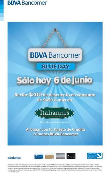 Italianni's: $200 de descuento en consumo de $450 mañana con Bancomer