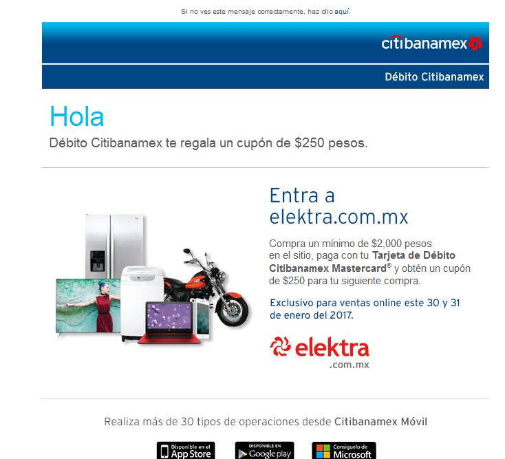 Elektra: cashback de $250 con Citibanamex compras mínimas $2,000