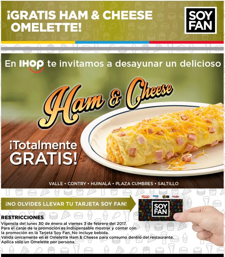 Ihop: Gratis Omelette Ham & Cheese (con Tarjeta Soy Fan en algunas sucursales)