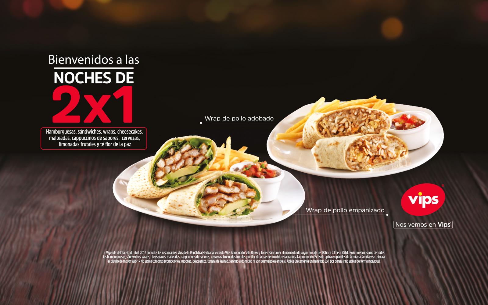 Vips: 2x1 en hamburguesas, cervezas, limonadas, sandwiches y más