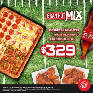 Pizza Hut: Gran Hut Mix + alitas + refresco por $329