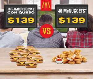 McDonalds: 10 Hamburguesas con Queso o 40 Nuggets por $139