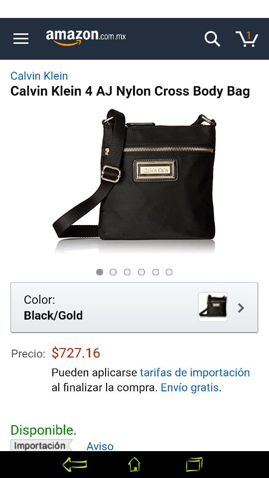 Amazon Mx: Bolso Calvin Klein Cross Body Bag