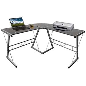 Office depot escritorio en l cristal for Muebles para computadora office depot