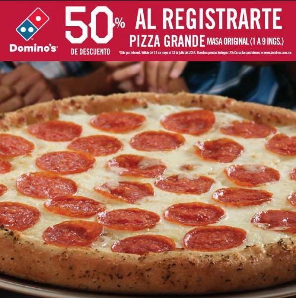 Domino's Pizza: 50% de descuento en pizza grande al registrarte en línea