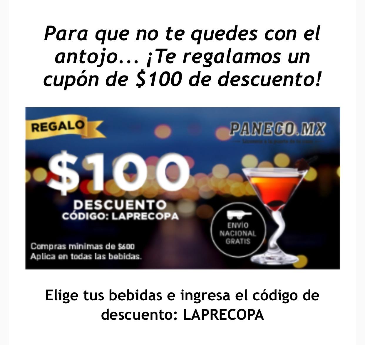 Paneco: cupón de $100 para compra mínima de $600