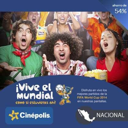 Cinépolis: 1 boleto para partido del Mundial y 1 para el cine por $49