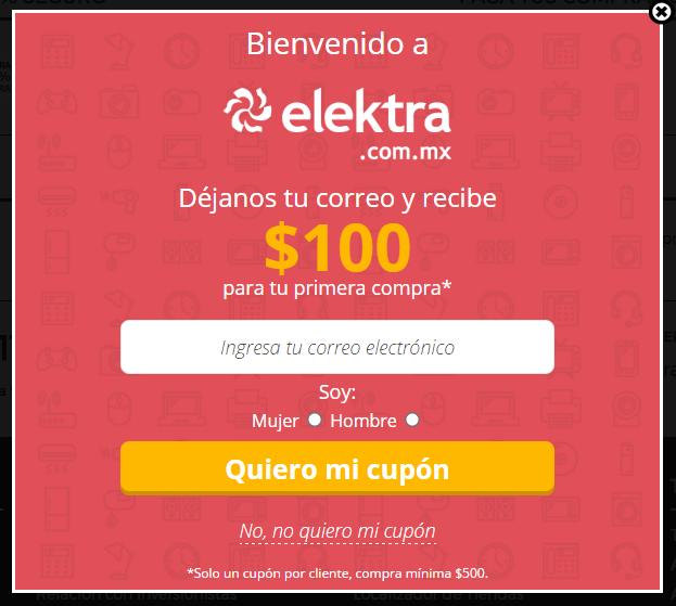 Elektra: cupón de $100 de descuento para primera compra (compra mínima $500)