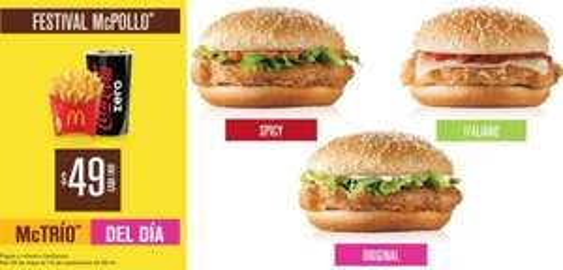 McDonald's festival McPollo: 3 McTríos de pollo a $49 cada uno