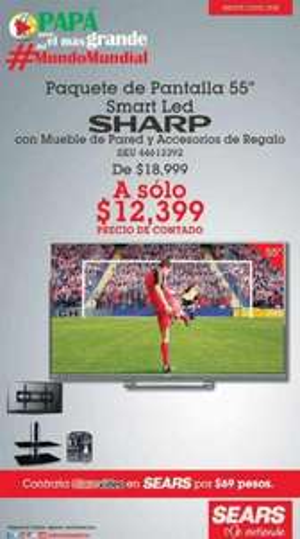 """Sears: LED Smart TV 55"""" con mueble de TV y accesorios $12,399"""