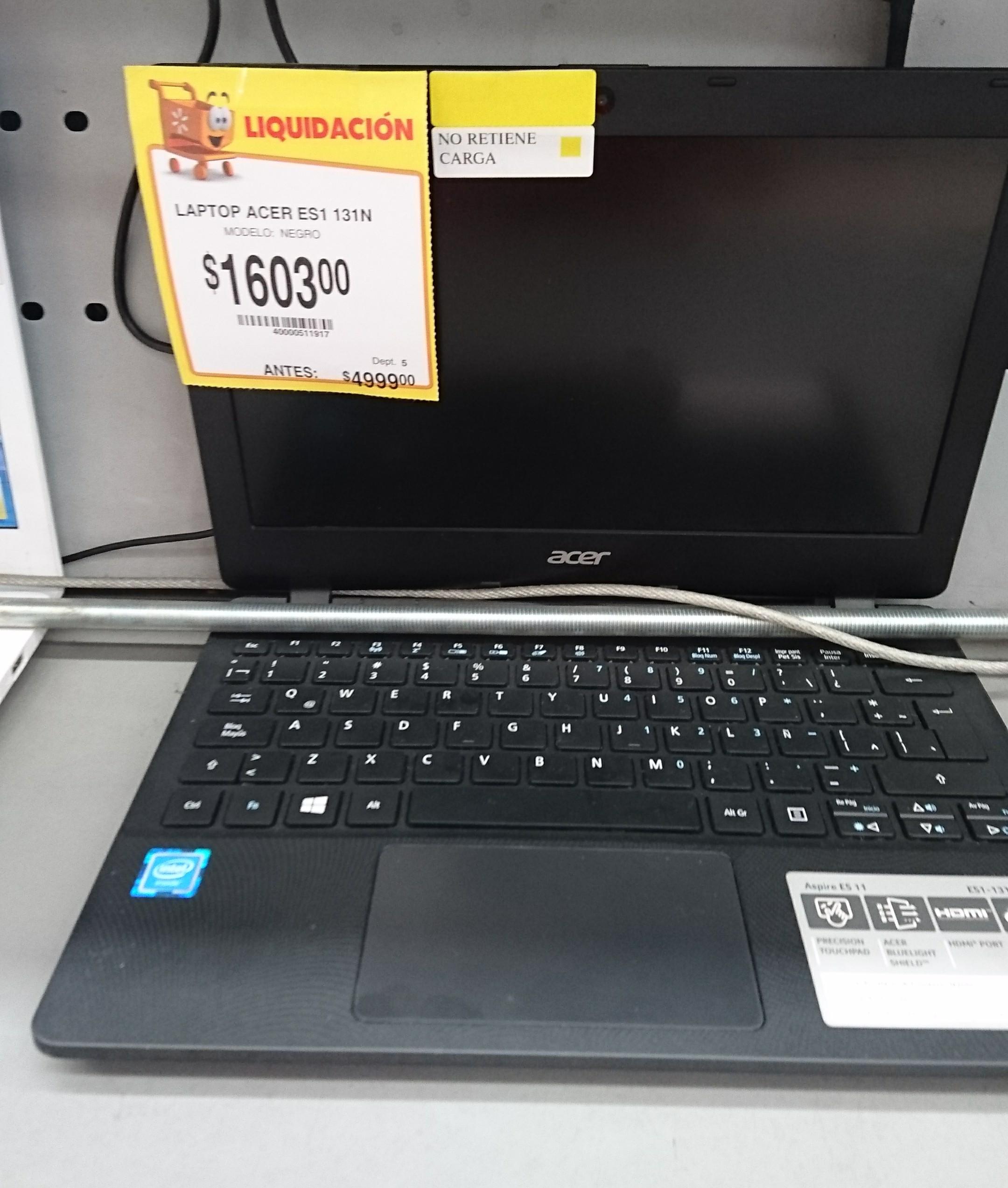 Walmart Las Animas Puebla: Laptop Acer Aspire ES1 131N a $1,603