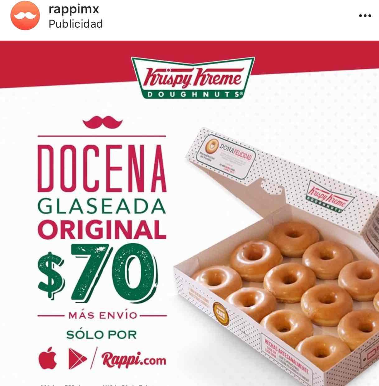 Rappi Docena de donas  Krispy Kreme por $70 más envió