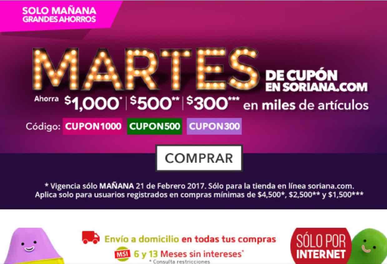 Soriana.com: varios cupones (ej. $1,000 de descuento en compras de $4,500 ó más)