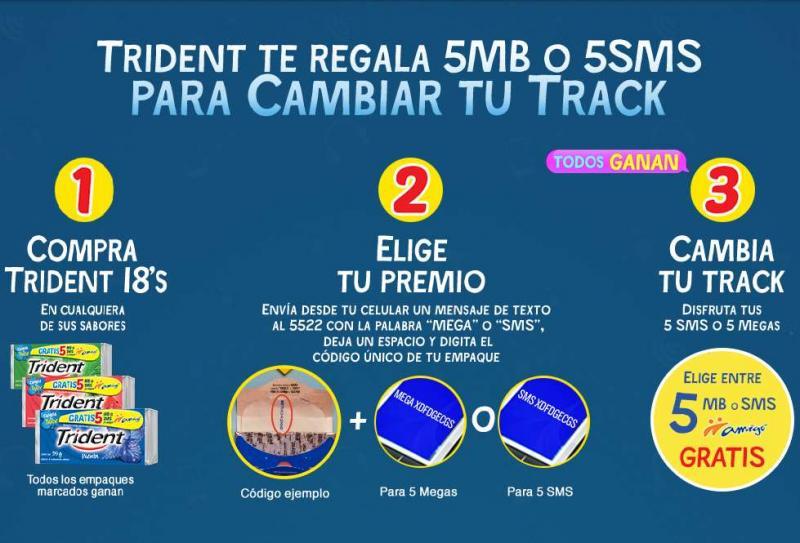 5MB de datos o 5 SMS gratis comprando chicles Trident
