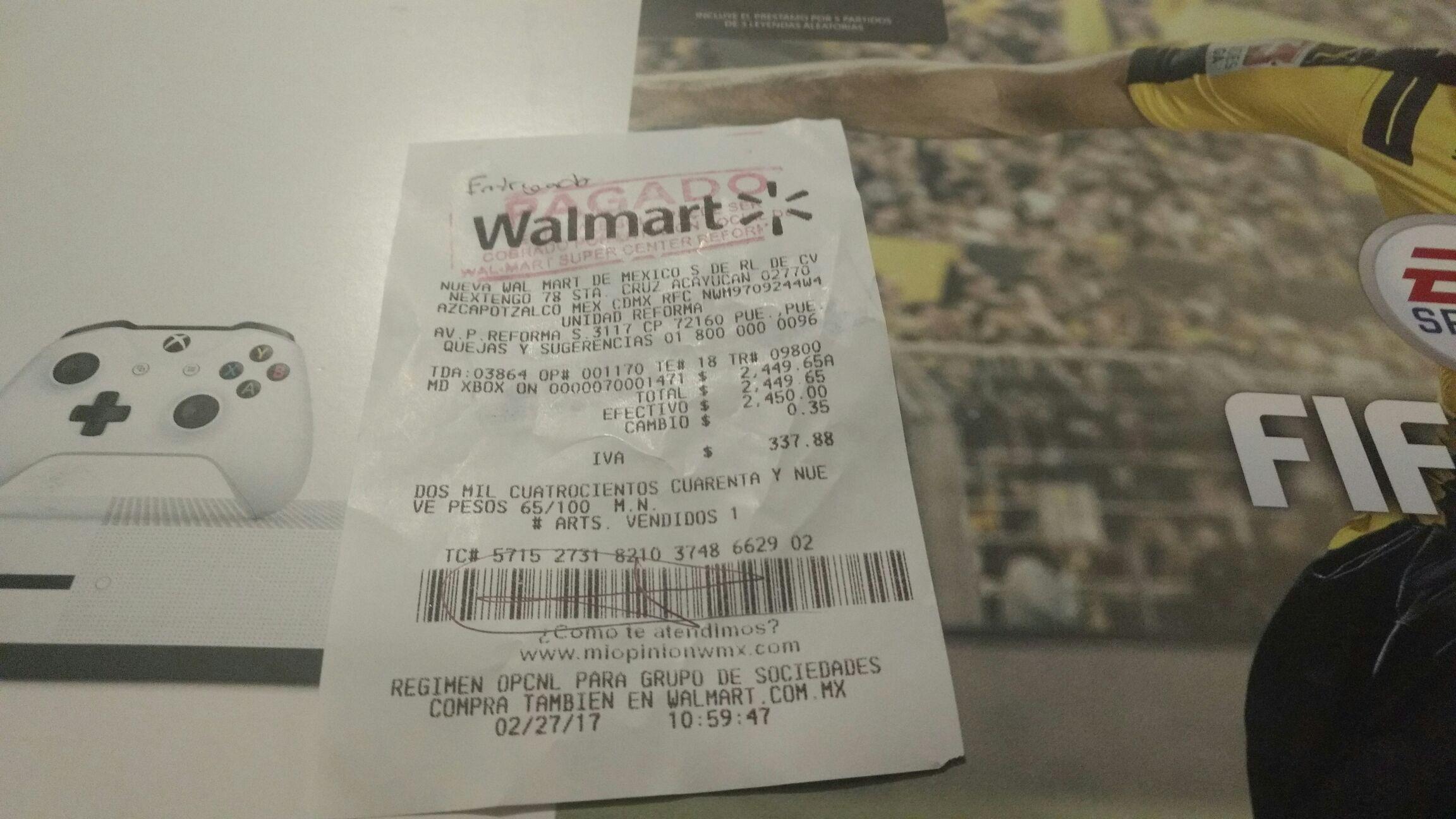 Walmart: Xbox One S 500GB con FIFA 2017