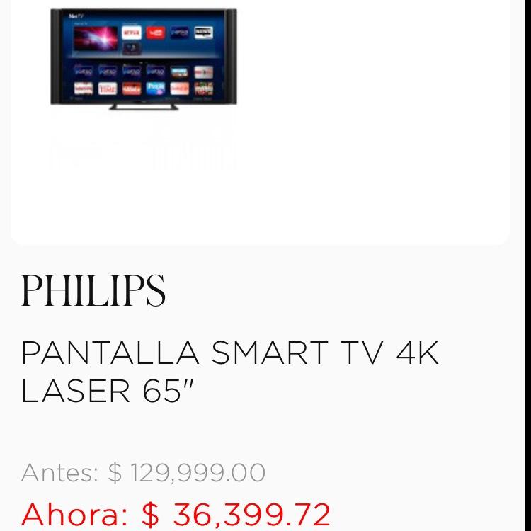 """Palacio de Hierro: PHILIPS PANTALLA SMART TV 4K LASER 65"""""""