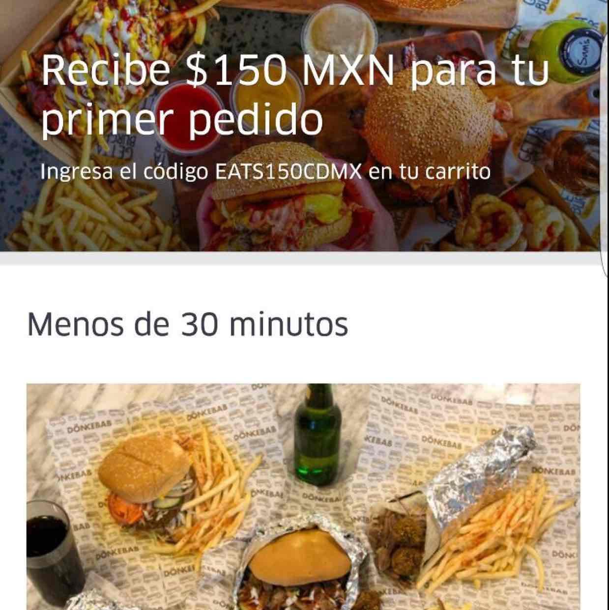 Uber Eats CDMX: cupón de $150 para el primer pedido