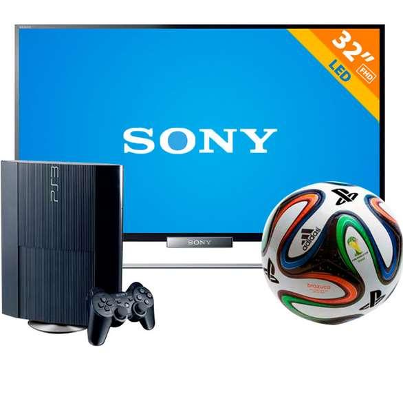 """Walmart: PS3 de 250gb con balón del mundial y pantalla LED Smart TV Sony de 32"""" $6,291"""