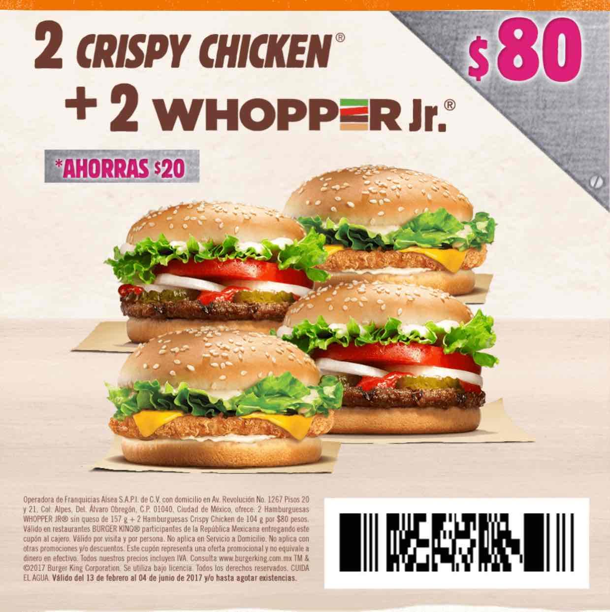 Burger King: cupón para 2 crispy chicken y 2 whopper jr por $80