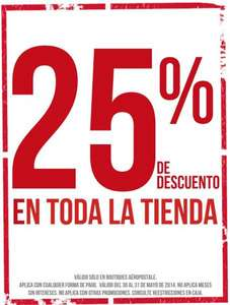 Aeropostale: 25% de descuento en toda la tienda, 15% adicional en rebajas y más