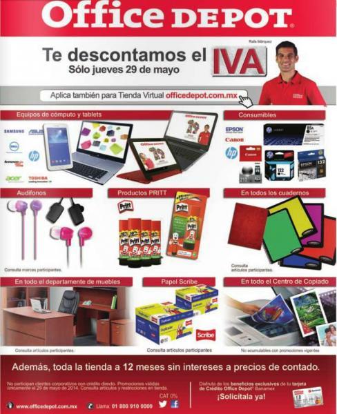 Office Depot: bonificación del IVA mayo 29