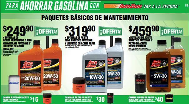 Autozone: 4 botellas de aceite multigrado Autozone y filtro a $249