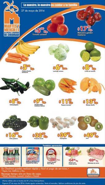 Ofertas de frutas y verduras en Chedraui mayo 27 y 28