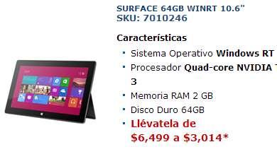 Tienda Telmex: tablet Microsoft Surface 64GB $3,014