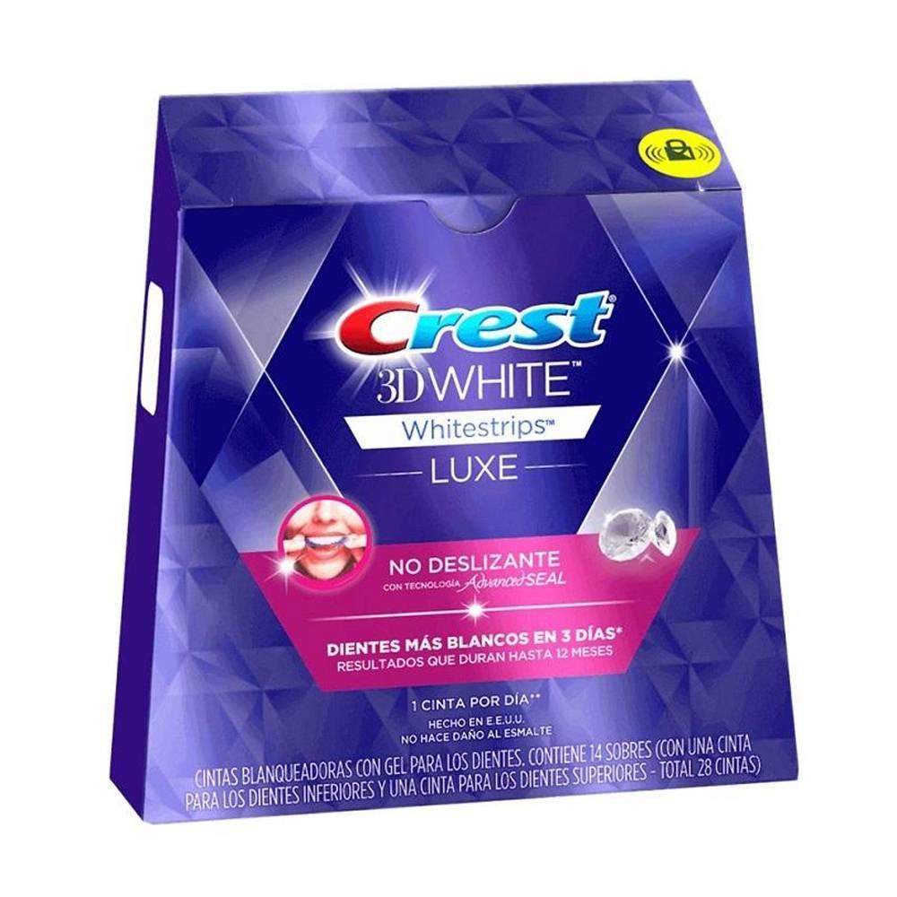 Superama: Cintas blanqueadoras Crest 3D White Luxe con gel 28 pzas