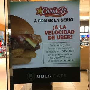 Uber Eats: Carl's Junior regala $150 en primer pedido