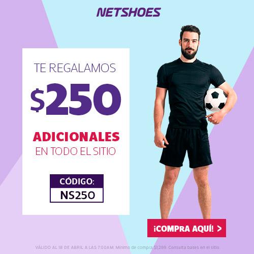 Netshoes: cupón de $250 de descuento (mínimo $1,299)