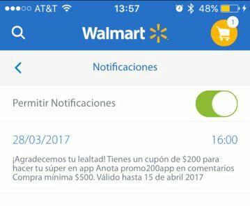 Walmart: Cupón de $200 descuento en compra mínima de $500 desde la App de Walmart