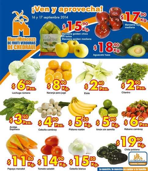 Ofertas de frutas y verduras en Chedraui septiembre 16 y 17