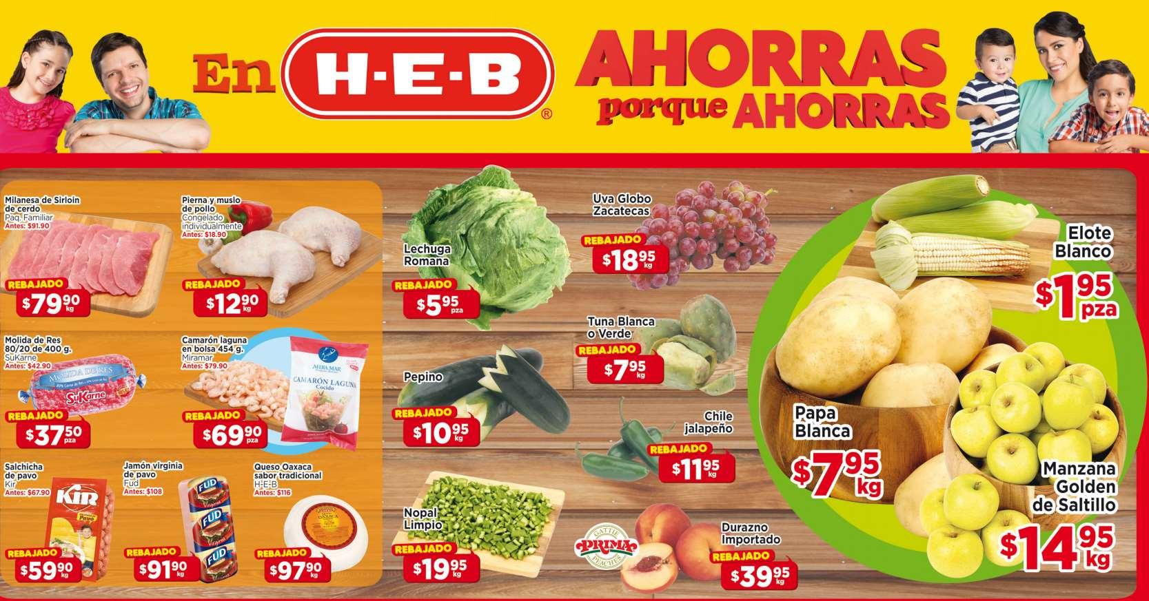 Ofertas frutas y verduras en HEB del 16 al 18 de septiembre
