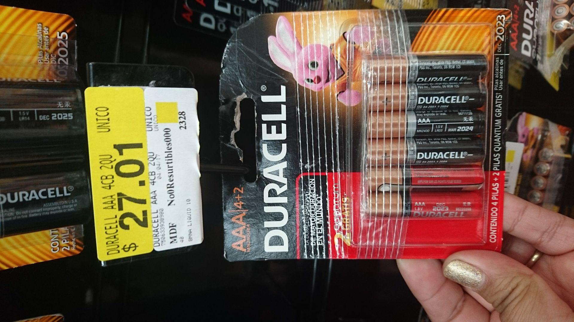 Walmart: Pila duracel AAA paquete de 4+2 solo $27.01