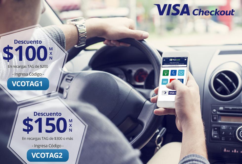 Pagamobil: Promoción de semana santa, $100 de descuento al recargar $200 o más tu TAG de TeleVía, Pase Urbano o ViaPass con Visa Checkout