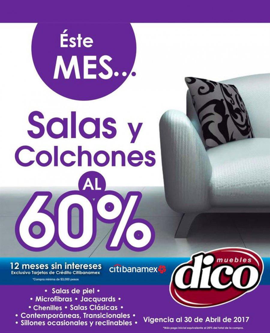Muebles Dico: 60% de descuento en salas colchones y más folleto