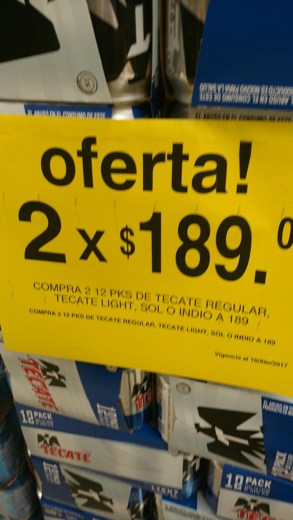Soriana Hiper Tuxtla: 2 doce pack de Tecate, indio o sol $189