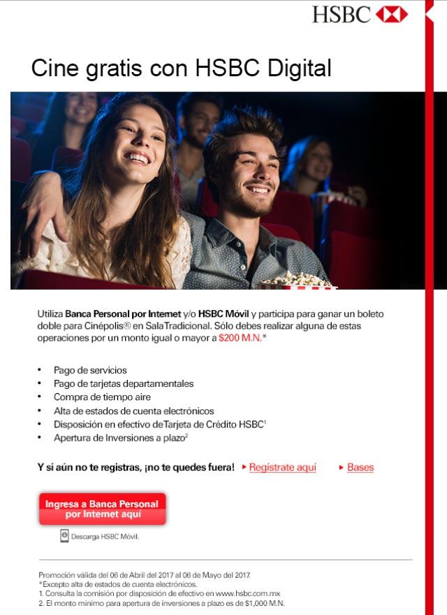 HSBC: 2 boletos gratis al usar Hsbc por Internet o por aplicacion movil