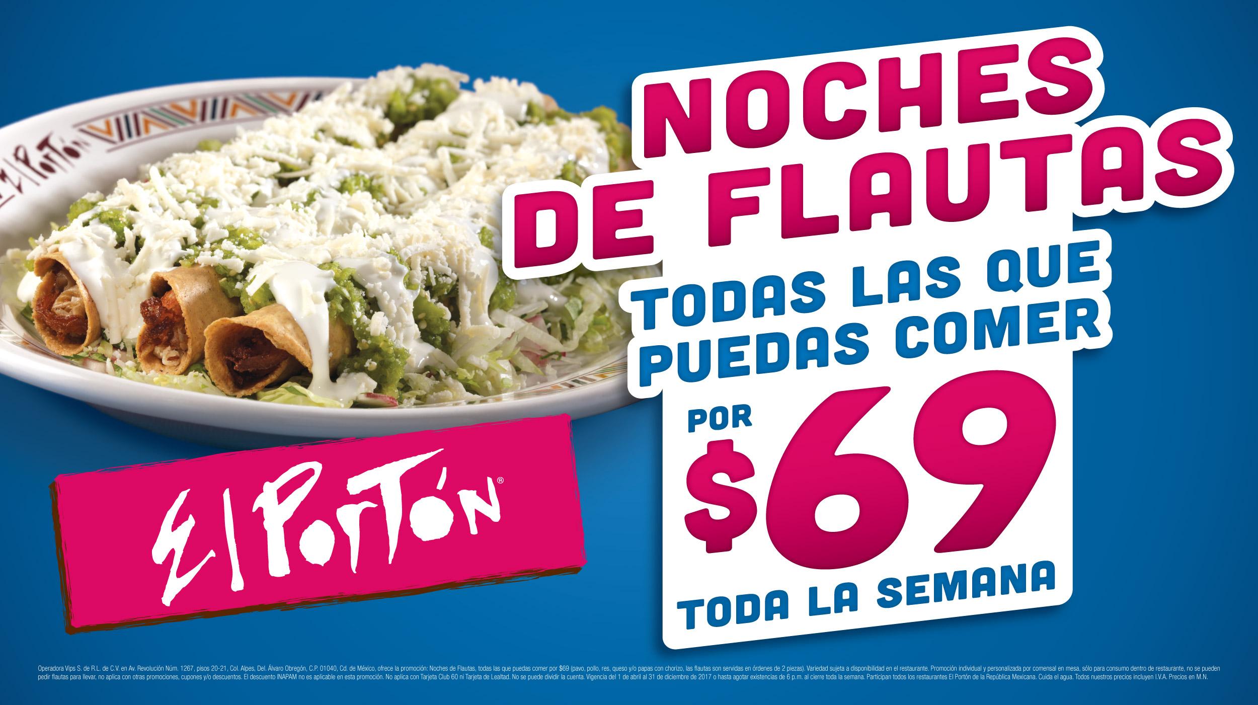 """El Portón: """"Noches de Flautas"""" $69 todas las que puedas comer"""