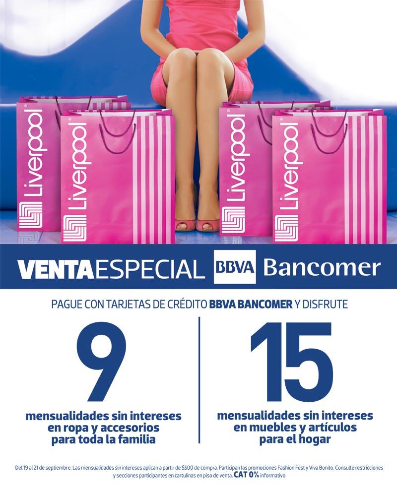 Venta BBVA Bancomer en Liverpool: 15 meses sin intereses