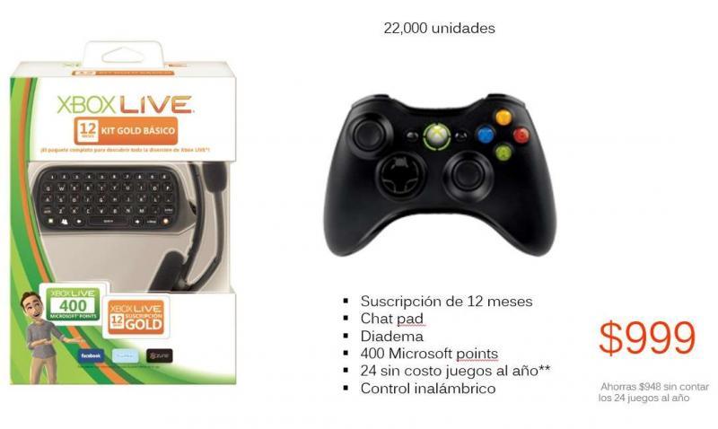 Viana: control Xbox 360, chatpad, 1 año de Xbox Live Gold y 400 puntos Microsoft $999