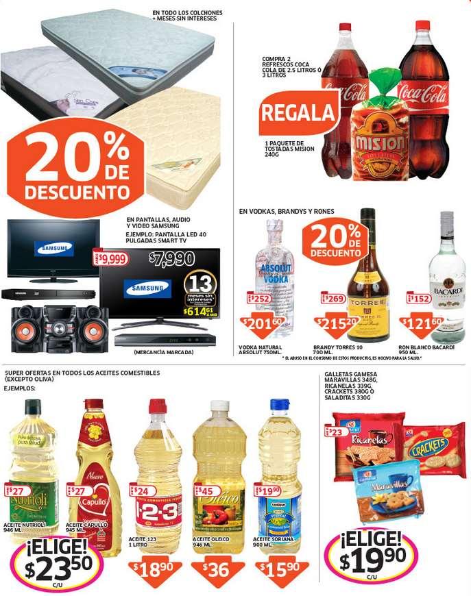 Soriana: 20% de descuento en ron, vodka, brany, colchones, marca Samsung y más