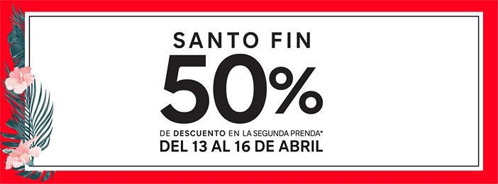 C&A MODA: SANTO FIN 50% descuento en la segunda prenda