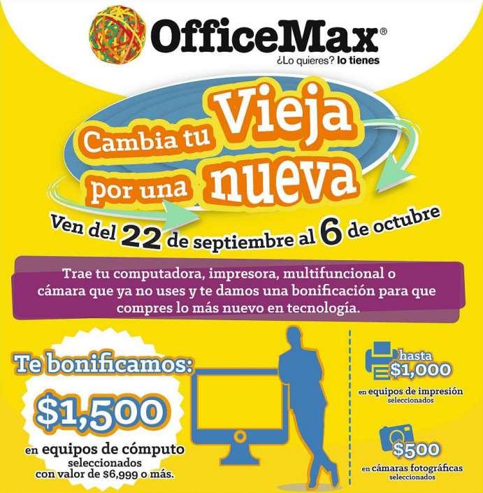 OfficeMax: hasta $1,500 de descuento reciclando computadora, impresora o cámara