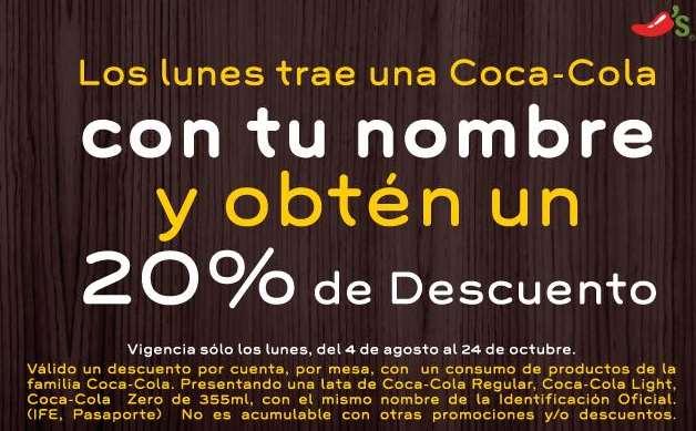Chilli's: 20% de descuento en tu consumo llevando lata de Coca Cola con tu nombre