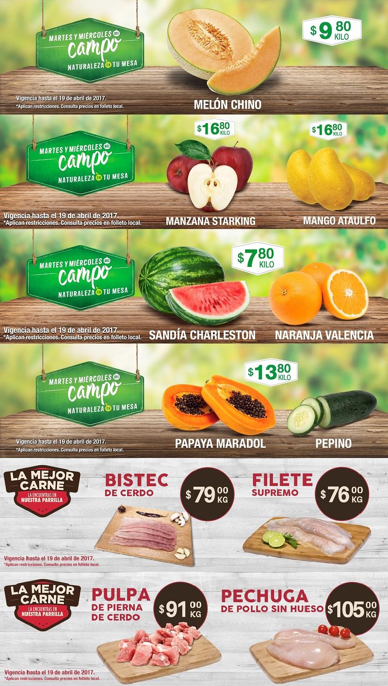 Comercial Mexicana, MEGA y MEGA Soriana: Martes y Miércoles de Campo 18 y 19 de Abril: Melón Chino $9.80 kg; Manzana Starking o Mango Ataulfo $16.80 kg; y más