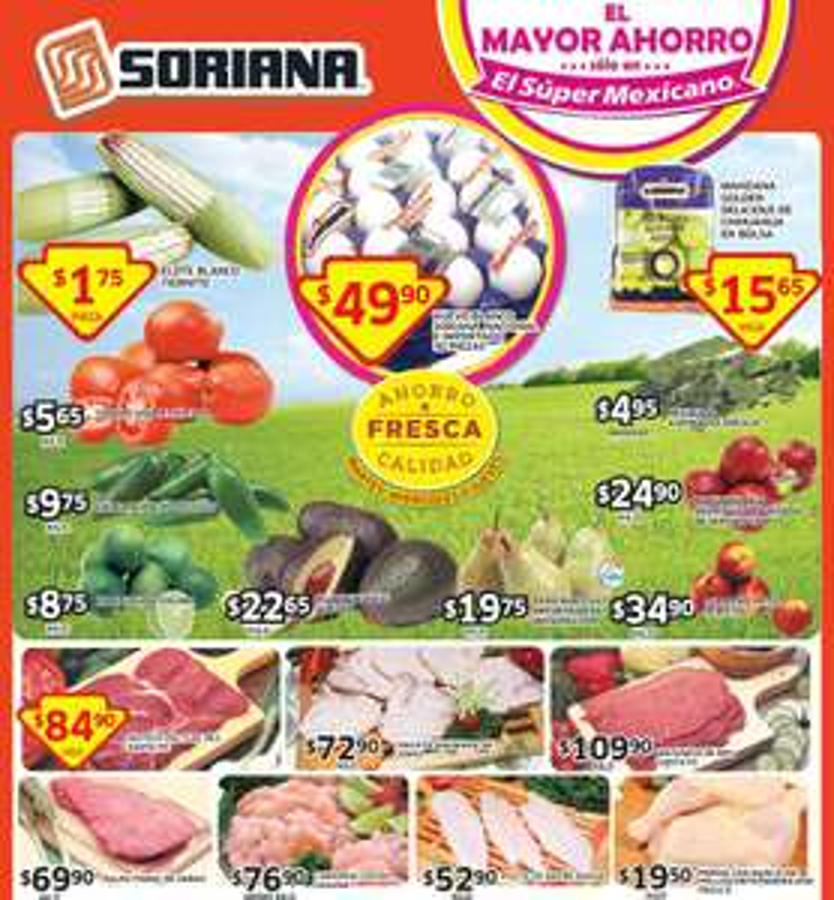 Ofertas de frutas y verduras en Soriana del 23 al 25 de septiembre