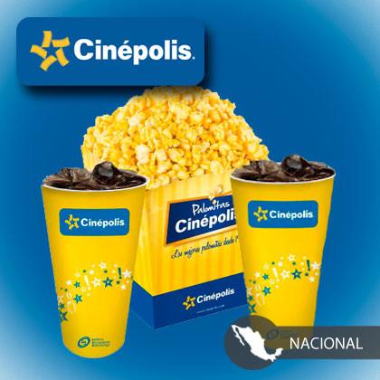 2 Entradas + palomitas + 2 refrescos en Cinépolis $184 o Cinépolis VIP $284